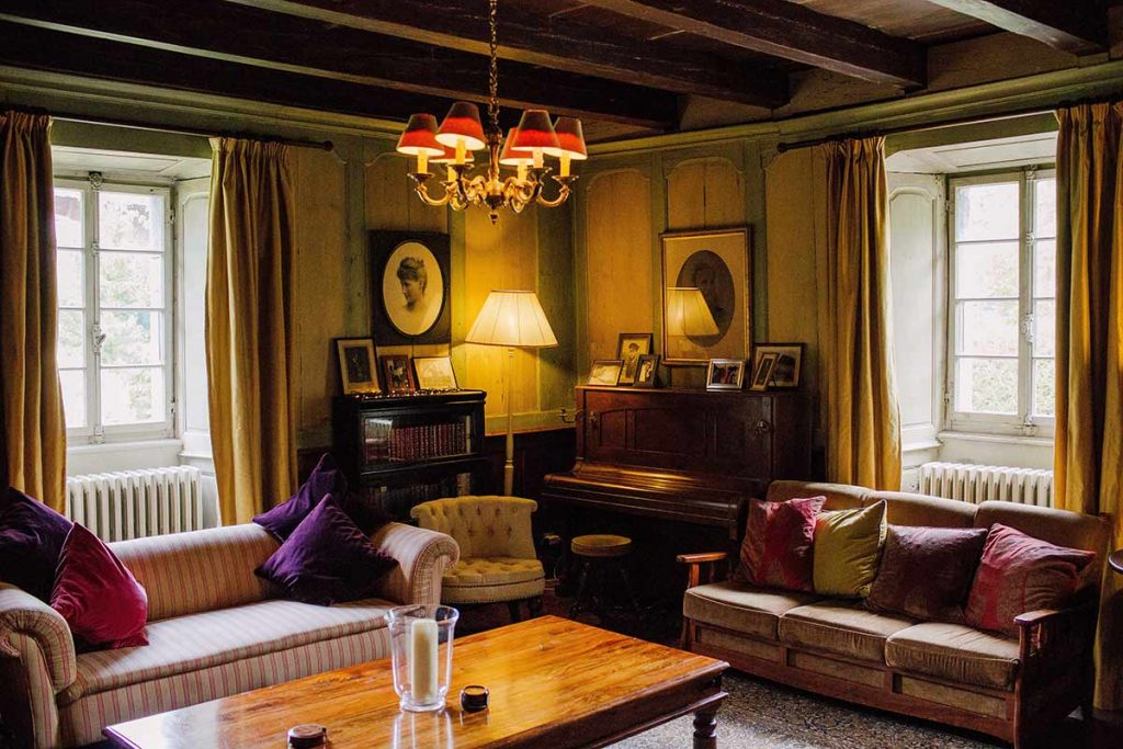 the lounge of The Farmhouse hotel in Morzine