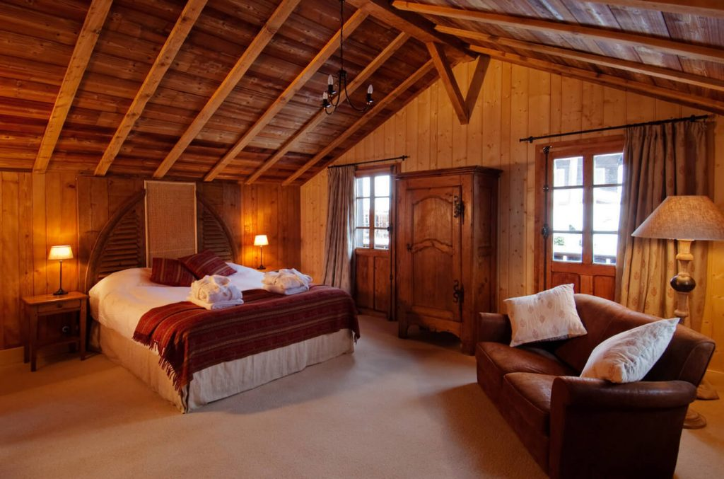 bedroom at the Farmhouse hotel in Morzine