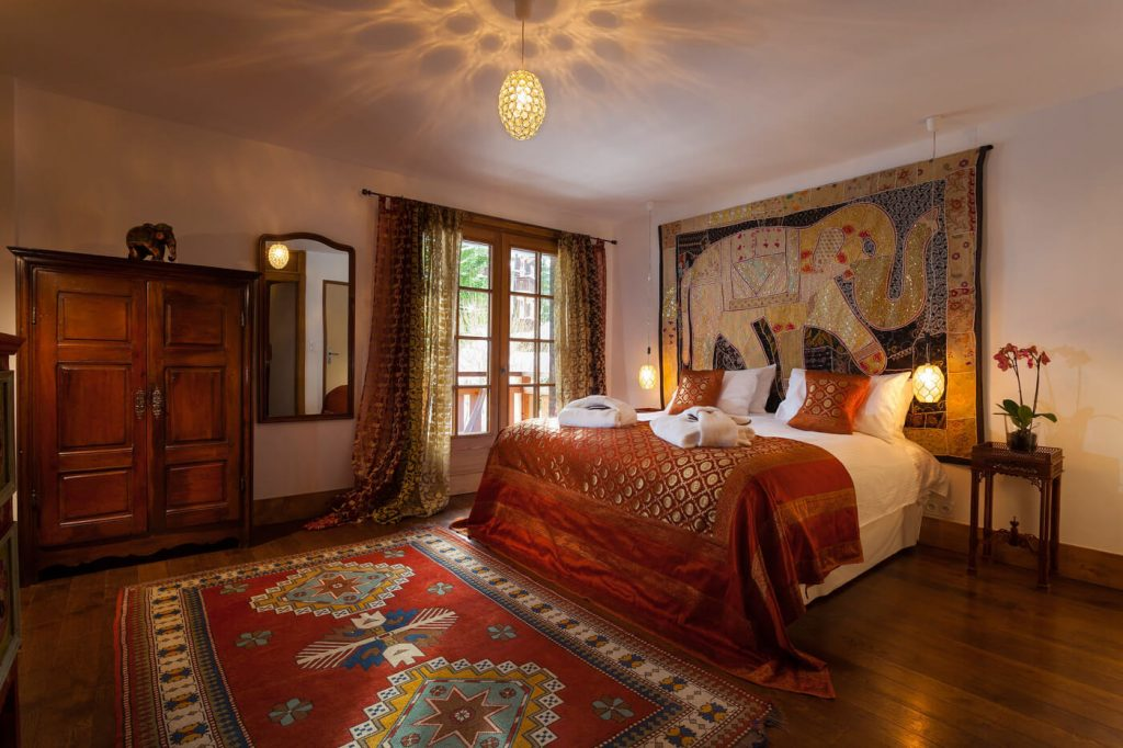 India bedroom at the Farmhouse hotel in Morzine