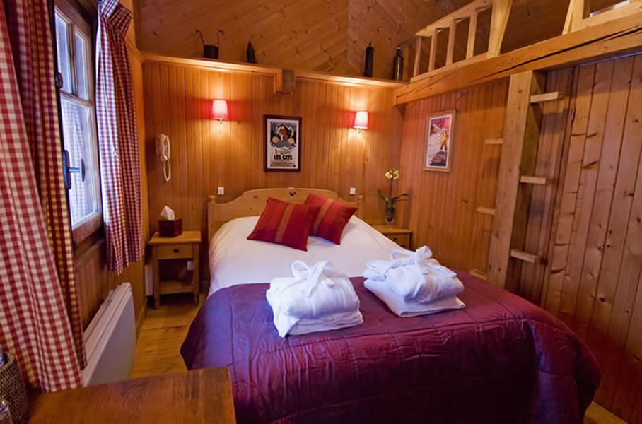 mazot bedroom at the Farmhouse hotel in Morzine