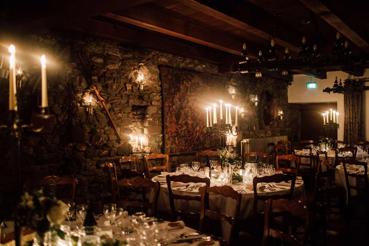 candle lit wedding dining room