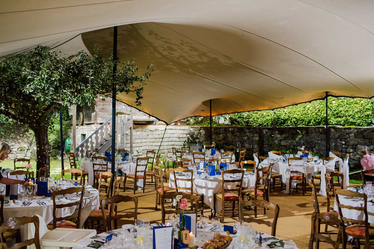 wedding marquee in the venue of the farmhouse morzine