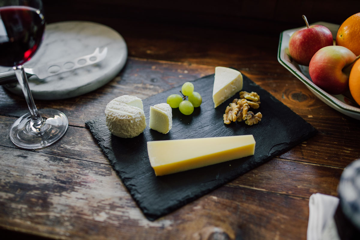 cheese board served at the farmhouse hotel in morzine