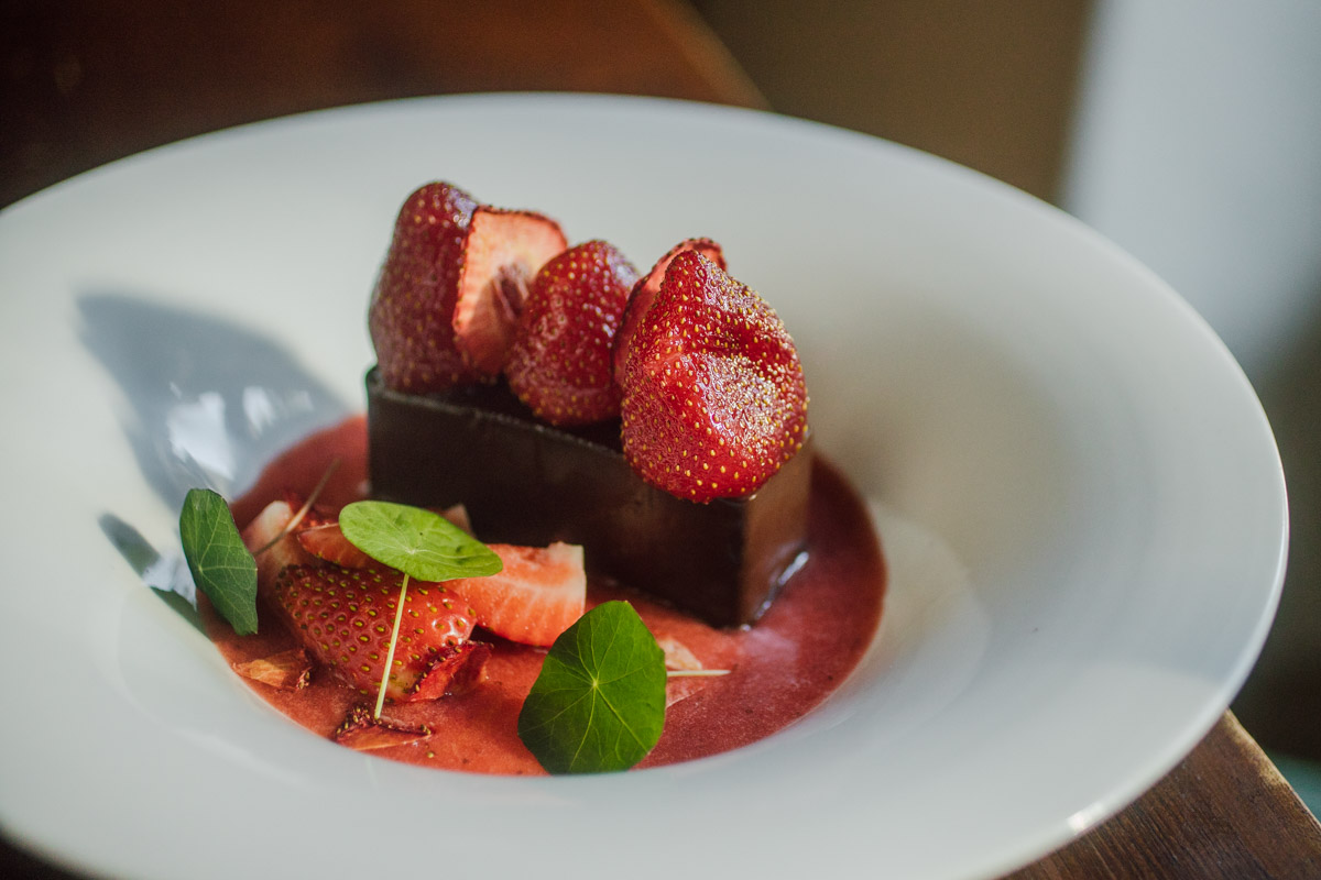 chocolate and strawberry dessert served at the farmhouse hotel in morzine