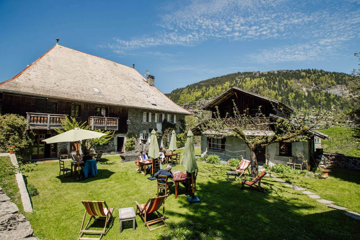 Lunch at the garden of The Farmhouse hotel in Morzine