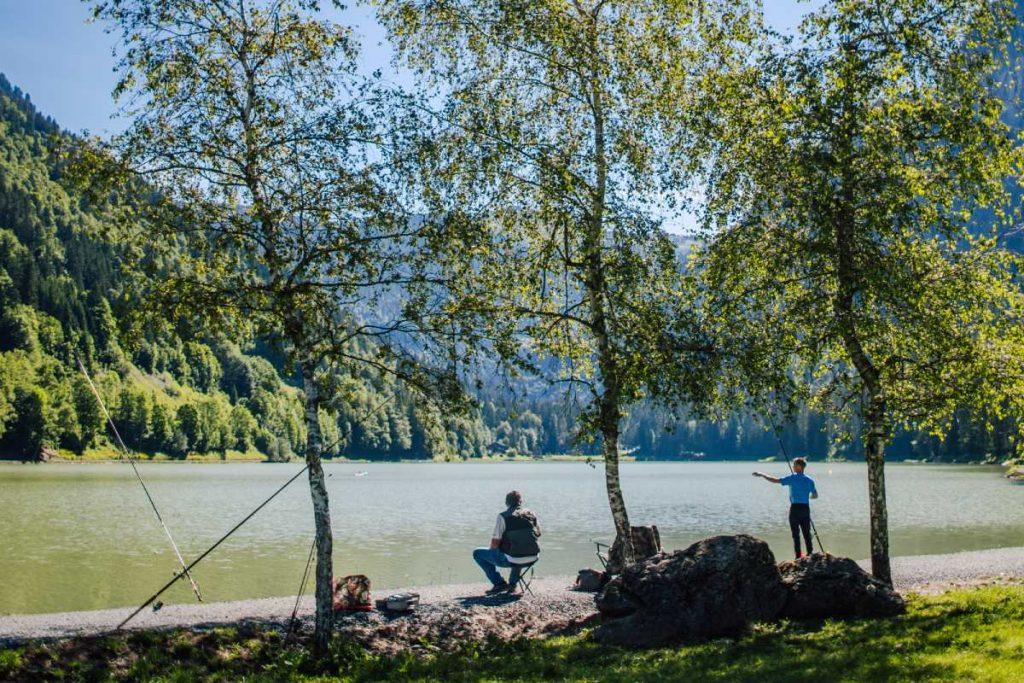 fishermen at lake Montriond in Morzine