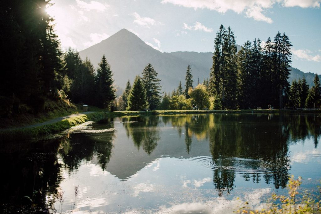 Lac des Mines d'Or a beautiful alpine lake in Morzine