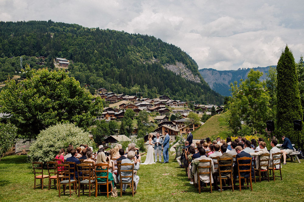 outdoor ceremony at the perfect wedding venue in the French Alps