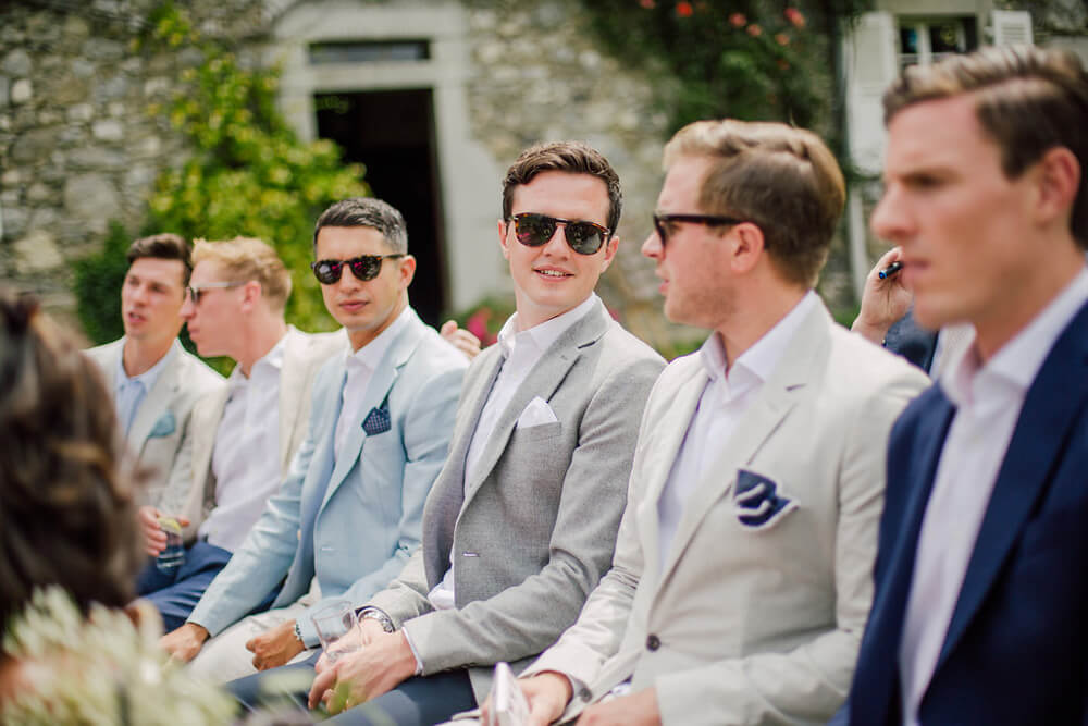 male guests during wedding ceremony in Morzine