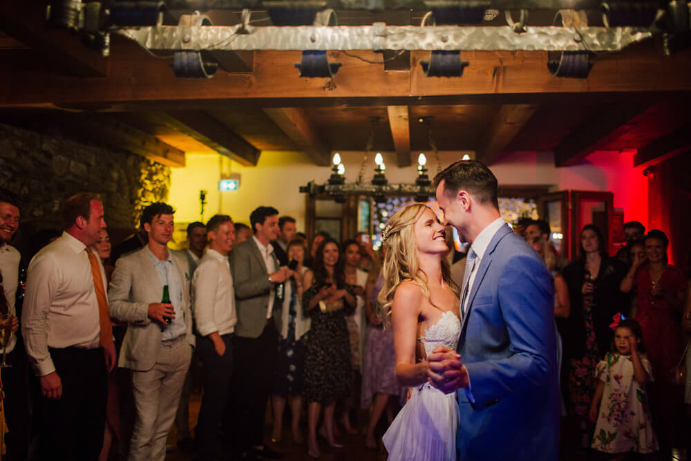 The first dance for couple at their French Alpine wedding