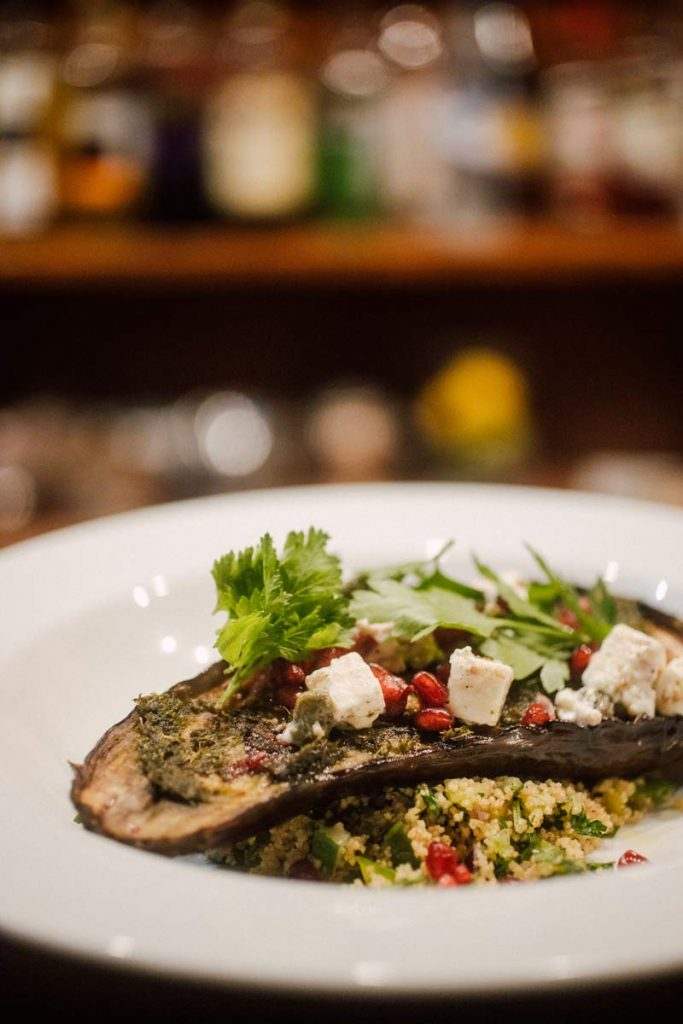 vegetarian main course with aubergine and feta cheese