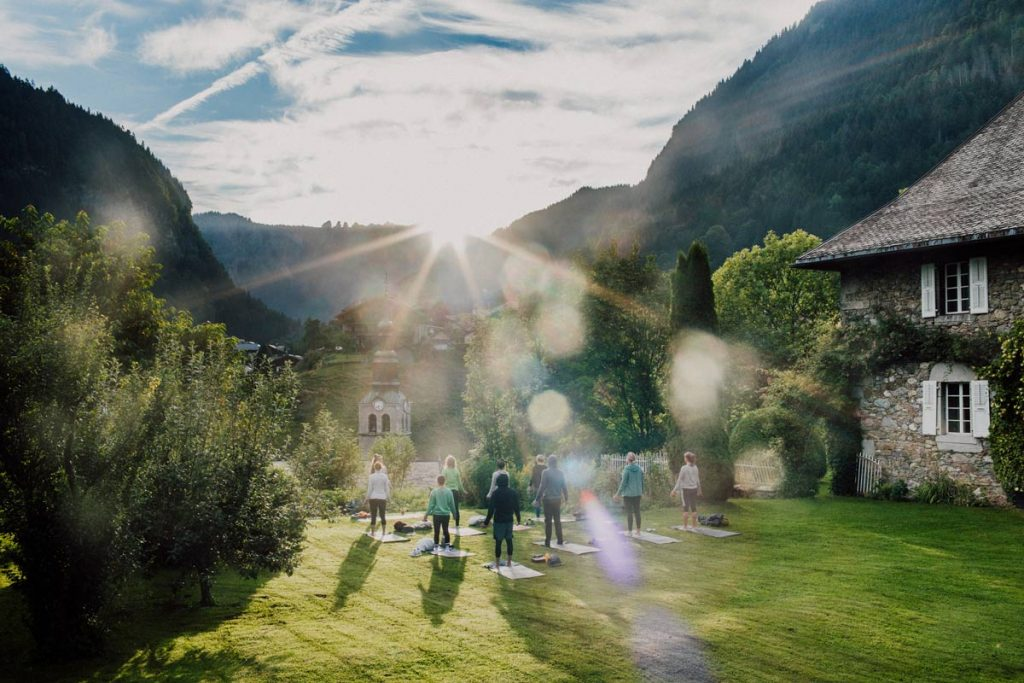 yoga class on a retreat at the french alps