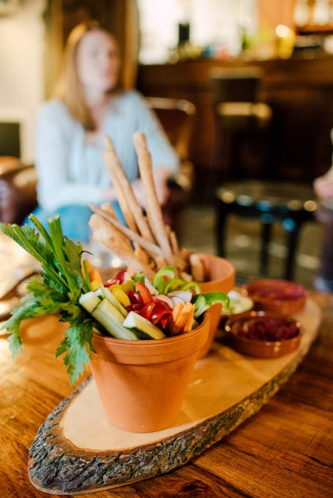 a plate full of vegetables on a yoga retreat
