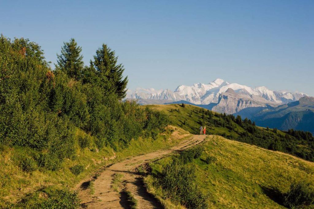 La Bourgeoise hike in the French Alps with the view of the Mont Blanc