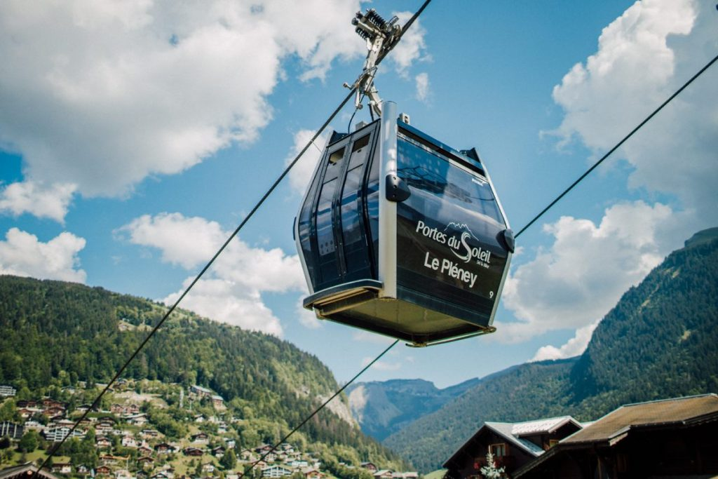 Telecabine of the Pleney with the view of Morzine and mountains around